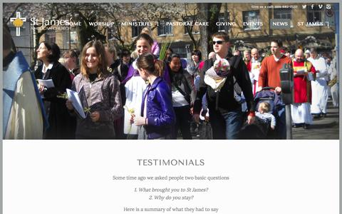 Screenshot of Testimonials Page stjames.bc.ca - Testimonials | St James' Anglican Church Vancouver - captured Nov. 11, 2017