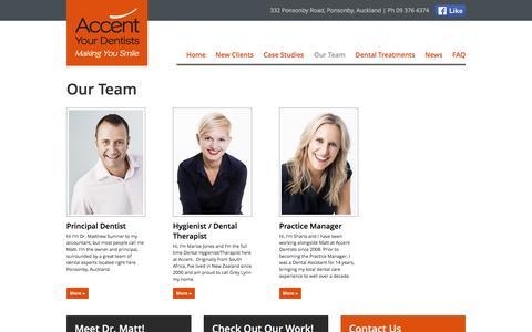 Screenshot of Team Page accentdentists.co.nz - NZ dentist | New Zealand dentists | Implant Dentistry | Dr. Matt Sumner - captured June 16, 2016