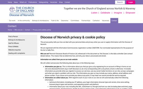 Screenshot of Privacy Page dioceseofnorwich.org - Privacy and cookies policy (Diocese of Norwich) - captured Oct. 9, 2018