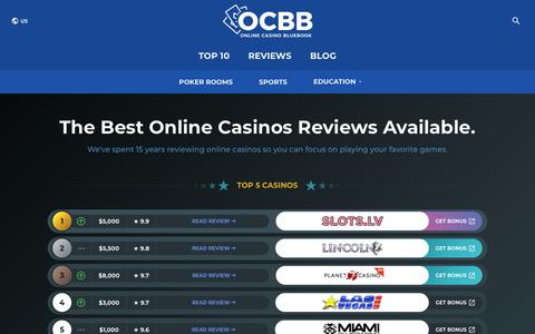 Screenshot of Home Page onlinecasinobluebook.com - Best Online Casinos for 2019 | Top Free and Real Money Gambling Sites - captured Nov. 8, 2019