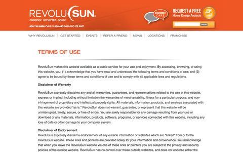Screenshot of Terms Page revolusun.com - Terms of Use | RevoluSun - captured Oct. 5, 2014