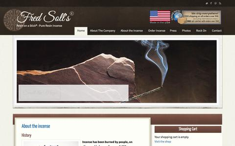 Screenshot of Home Page fredsoll.com - Fred Soll's — Resin on a Stick® - Pure Resin Incense - captured June 15, 2016