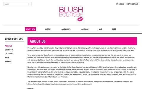 Screenshot of About Page shopblush.com - Shop Blush Boutique Stores - Miami Florida : Blush Boutique Miami – ShopBlush.com - captured Nov. 21, 2016