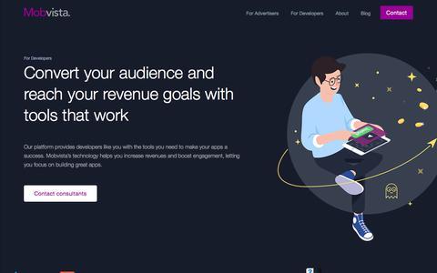 Screenshot of Developers Page mobvista.com - For Developer - Mobvista - captured July 27, 2017