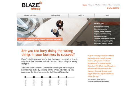 Screenshot of Home Page blazeahead.co.uk - Blaze Ahead - captured Oct. 5, 2014