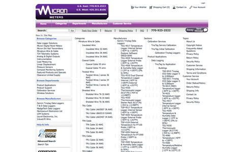 Screenshot of Site Map Page micronmeters.com - Micron Meters-Providing Solutions for a wide Range of Applications - captured Oct. 27, 2014