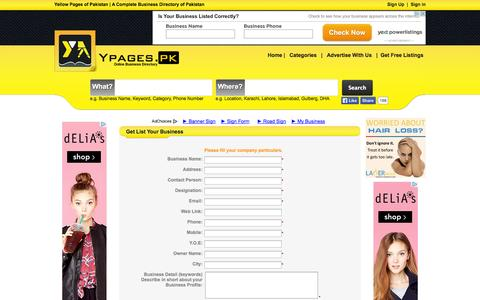Screenshot of Signup Page ypages.pk - List Your Business Free | Add Free Business Listing | Ypages.pk - captured Oct. 27, 2014