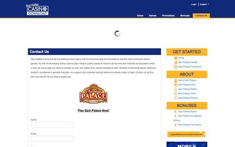 Screenshot of Contact Page bestonlinecasinodownload.com - Contact Us – Contact Spin Palace Casino - captured Dec. 3, 2016