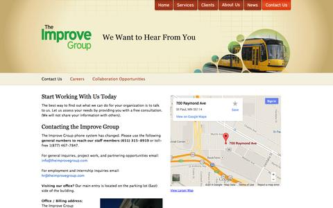Screenshot of Contact Page theimprovegroup.com - The Improve Group | Research, Evaluation, Planning, Coaching - captured Oct. 7, 2014