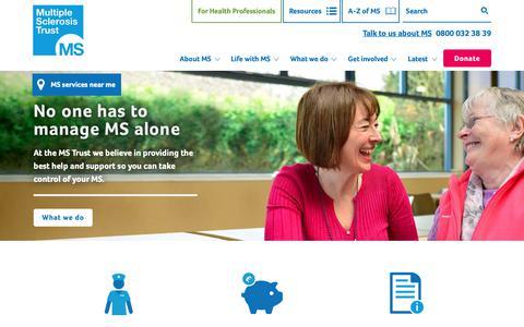 Screenshot of Home Page mstrust.org.uk - Home | MS Trust - captured Nov. 5, 2018