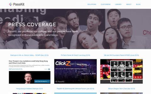 Screenshot of Press Page passkit.com - Press - PassKit - captured July 12, 2018