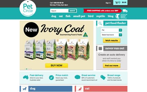 Screenshot of Home Page petcircle.com.au - Pet food online | Pet Circle - captured Jan. 14, 2015
