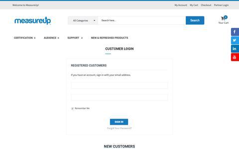 Screenshot of Login Page measureup.com - Customer Login - captured Dec. 10, 2018