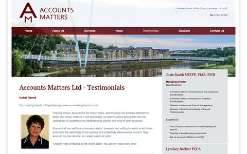 Screenshot of Testimonials Page accountsmatters.co.uk - Accounts Matters | Testimonials, Lancaster, Lancashire, Accountancy for Businesses, Payroll, bookkeeping, credit control - captured Oct. 2, 2018