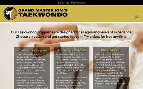 Screenshot of Pricing Page gmktkd.com - Programs and Pricing - Grand Master Kim's Taekwondo - captured Sept. 30, 2018