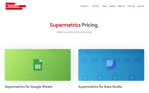 Screenshot of Pricing Page supermetrics.com - Pricing that fits your needs - All Products | Supermetrics - captured Dec. 3, 2018