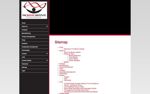 Screenshot of Site Map Page biovac.co.za - Sitemap - captured Oct. 26, 2014