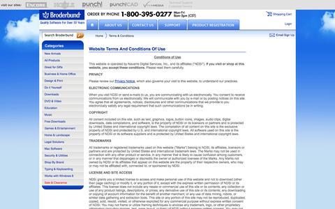 Screenshot of Terms Page broderbund.com - Terms & Conditions | Broderbund | Official Software Site - captured Nov. 4, 2014