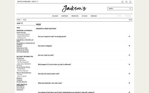 Screenshot of FAQ Page jacksonsart.com - FAQs | Jackson's Art Supplies - captured Aug. 14, 2019