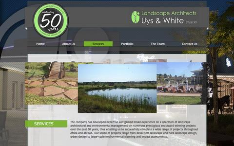 Screenshot of Services Page luw.co.za - Landscape Architects Uys and White | Services - captured Oct. 21, 2016