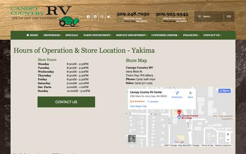 Screenshot of Locations Page canopycountry.com - Yakima Location | Canopy Country RV Dealership | Ellensburg, WA and Yakima, WA - captured July 14, 2017