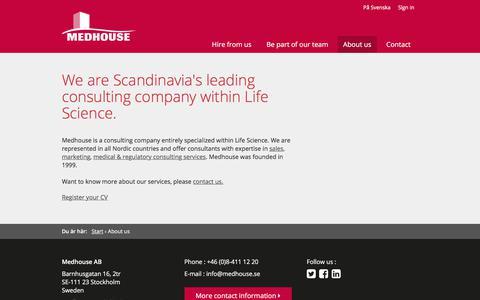 Screenshot of About Page medhouse.com - About us - Medhouse - captured Sept. 20, 2018