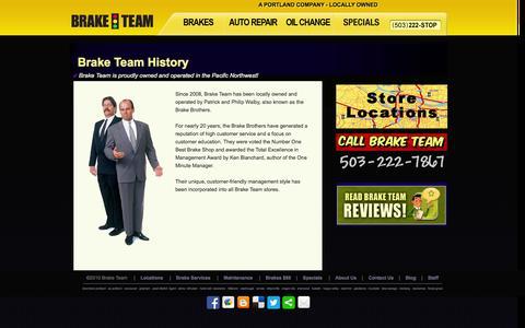 Screenshot of About Page braketeam.pro - History | Brake Team | Portland, Oregon (OR) - captured Sept. 30, 2014