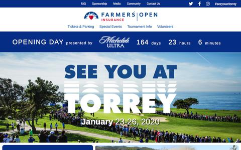 Screenshot of Home Page farmersinsuranceopen.com - Home - The Farmers Insurance Open - captured Aug. 11, 2019