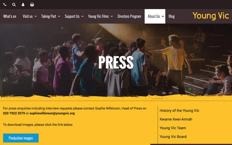 Screenshot of Press Page youngvic.org - Press | Young Vic website - captured Sept. 21, 2018