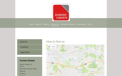 Screenshot of Maps & Directions Page ashburncarpets.com - Flooring trade counter London - captured Nov. 21, 2016