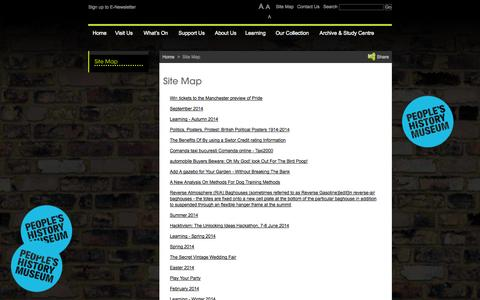 Screenshot of Site Map Page phm.org.uk - Site Map – People's History Museum : Manchester Museums - captured Oct. 27, 2014