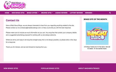 Screenshot of Contact Page madaboutbingo.com - Contact Us | Contact Information | Madaboutbingo.com - captured Nov. 10, 2018