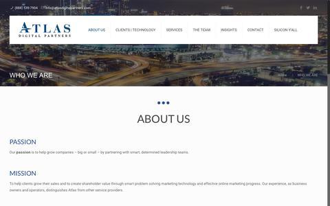 Screenshot of About Page atlasdigitalpartners.com - WHO WE ARE - Atlas Digital Partners - captured July 31, 2018