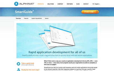 Screenshot of Products Page alphinat.com - SmartGuide | Rapid application development for all of us - captured Nov. 20, 2016