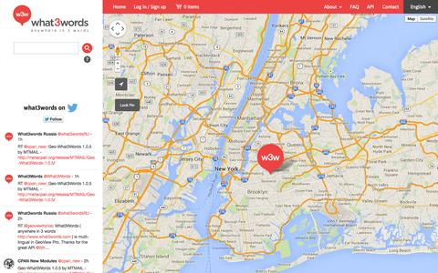 Screenshot of Home Page Maps & Directions Page what3words.com - what3words - captured Sept. 17, 2014