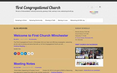 Screenshot of Press Page fcc-winchester.com - This Week - First Congregational Church - captured Nov. 6, 2015