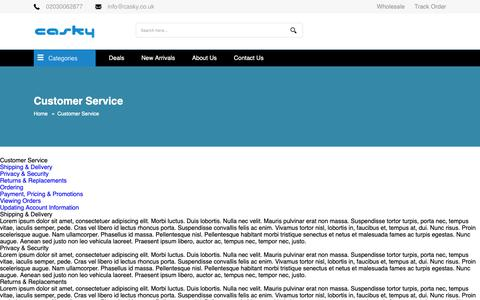 Screenshot of Support Page casky.co.uk - Customer Service - captured Sept. 27, 2018