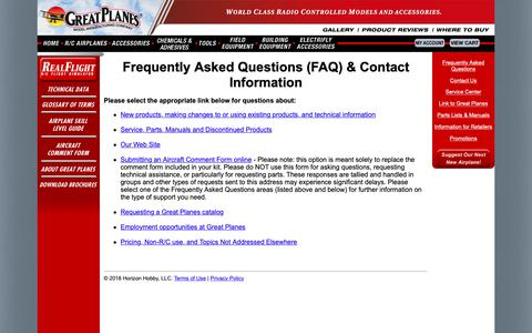 Screenshot of FAQ Page greatplanes.com - Great Planes Model Mfg. - Frequently Asked Questions (FAQ) & Contact Information - captured Nov. 14, 2018