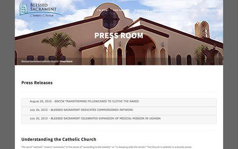 Screenshot of Press Page mybscc.org - Blessed Sacrament Catholic Church   –  Press Room - captured Oct. 10, 2017