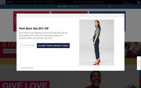 Screenshot of Home Page gap.com - Shop Gap for Casual Women's, Men's, Maternity, Baby & Kids Clothes - captured Nov. 7, 2018