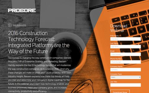 Screenshot of Landing Page procore.com - 2016 Construction Technology Forecast - captured March 15, 2016