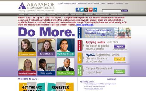 Screenshot of Home Page arapahoe.edu - Arapahoe Community College - Denver Colorado - captured July 11, 2014