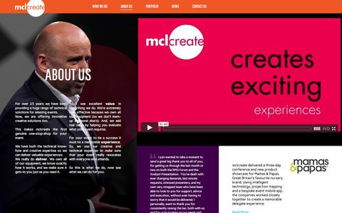 Screenshot of About Page mclcreate.com - About Us - mclcreate - captured Oct. 27, 2014