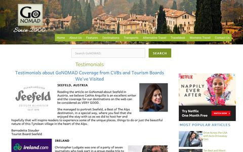 Screenshot of Testimonials Page gonomad.com - Testimonials - GoNOMAD Travel - captured Sept. 29, 2018