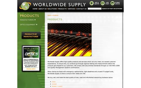 Screenshot of Products Page worldwidesupply.net - Worldwide Supply - Products - captured Oct. 26, 2014