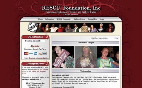 Screenshot of Testimonials Page rescufoundation.org - Testimonials - captured Oct. 26, 2014