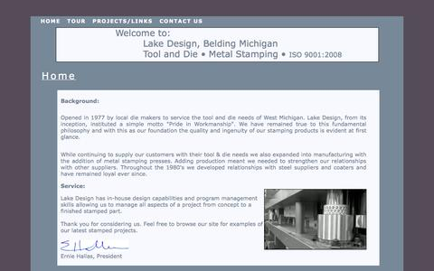 Screenshot of Home Page lakedesignmfg.com - Lake Design and Manufacturing,Tool and Die, Metal Stamping Production,home page - captured Sept. 27, 2014