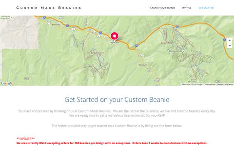 Screenshot of Contact Page custommadebeanies.com - Custom Made Beanies | Contact Us - Create a Customized Embroidered Brand Tuque, Beanies - captured July 18, 2016