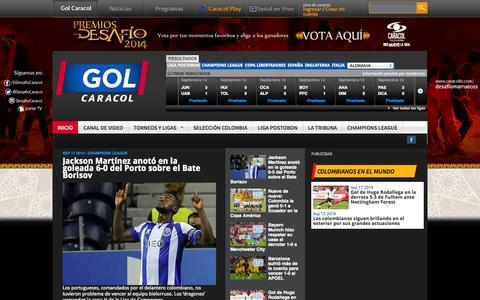 Screenshot of Home Page golcaracol.com - Noticias de Fútbol Colombiano e Internacional | Golcaracol.com - captured Sept. 18, 2014