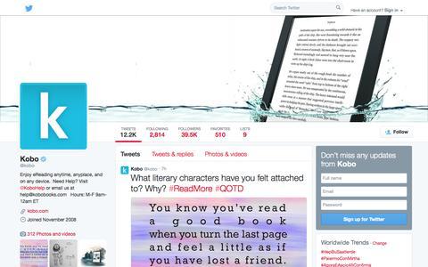 Screenshot of Twitter Page twitter.com - Kobo (@kobo) | Twitter - captured Oct. 26, 2014